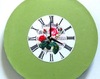 Wall clock. Roses and sheet music.  Roman numerals. Unique clock. Vintage clock.