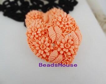 20%off 324-00-CA  2pcs Heart Shape Flower Garden Cabochon.Peach Pink