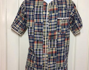 1960's madras plaid patterned short sleeve summer pajamas shirt top size A sanforized collarless blue red yellow all cotton