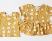 Made To Order / Baby Tee / Moon Child / Moon Phases / Peplum tee / T-shirt / Yellow / White / Moon / Baby / Toddler / Baby Clothes