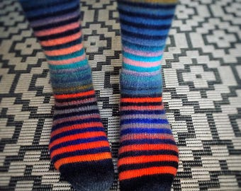 Happy Stripes - hand knitted socks - superwash wool - size women M, eur 38-39