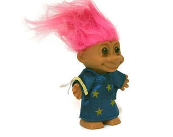 Vintage Wizard Troll Doll  /  Collectible 1980's Troll  /  Magician Sorcerer