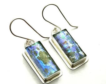 Summer Sale Stunning One of a Kind Hand Made  Colorful Rare Roman Glass 925 Silver Earrings