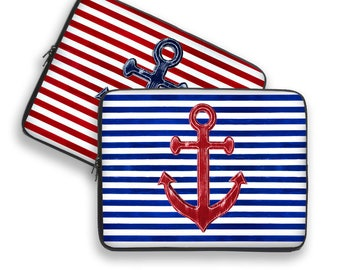 Nautical Laptop Cover, anchor laptop case, anchor laptop sleeve, to fit 10, 13, 15, 17 inch, computer sleeve, netbook case, striped