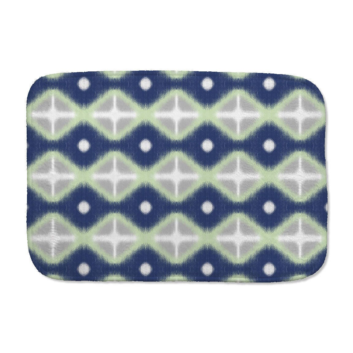 Printed Ikat Bath Mat Diamonds Bath Mat Navy Blue Green - Blue and green bath rug for bathroom decorating ideas