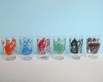 Vintage Children's Swanky Swigs Glasses - Kitchen Themed Juice Glasses - Animals - Set of 6 Different Colors - Hazel Atlas 1950's