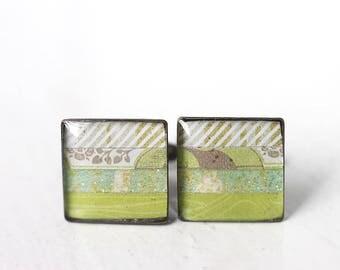 Light Green Men's Cuff Links - Square Cufflinks for Men Groom Groomsmen Spring Wedding Horizontal