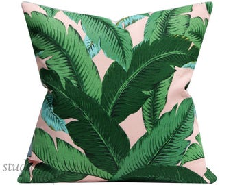 Swaying Palms - Pillow Cover -  Isla Pink - 20 inch - indoor - outdoor - green