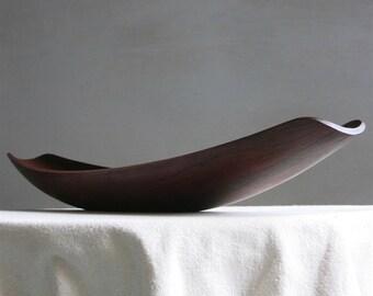 Vintage Dansk Teak Gondola Bowl by Jens Quistgaard IHQ Danish Modern Wood Bowl 1950s - Long Skinny Serving Tray Mid Century Scandinavian