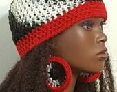 Crochet Skullcap Beanie and Earrings by Razonda Lee Razondalee Black White Red