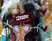 Raw Outsider Art Print, modern art print, dark kunst wall art, eerie face painting, art brut, strange expressionist art, graffiti painting