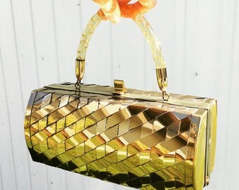 Vintage Gold Herringbone Metallic Box Purse with Lucite Handle 50s