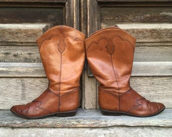 Vintage Leather Chestnut Brown Nine West Cowboy Boots  size 8.5