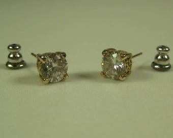 925 Gold Plated Sterling Silver Cubic Zirconia Stud Earrings 1 Karat CZ Each Push back