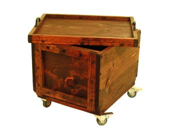 Rolling Lidded Box, Wooden Crate on Wheels, Rolling Wood Crate with Lid, Mobile Lidded Wood Box, Portable Storage & Organization