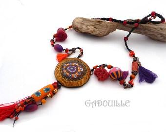 Large medallion, Gypsy spirit polymer necklace