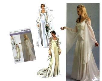 Bridal Pattern Wedding Gown Pattern Wedding Dress Pattern Bridal Shrug Veil Pattern Misses size 14 16 18 20 Simplicity 4777 Sewing Pattern