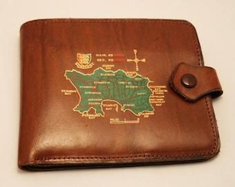 Vintage leather wallet. Jersey wallet. Bank notes. Brown hide wallet. Souvenir of Jersey