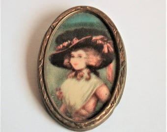 Vintage brooch. Picture of an Edwardian lady.  Oval brooch.  Vintage jewellery