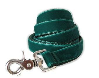 Green Velvet Dog Leash, Green Velvet Dog Lead, 5 foot Leash, Green Leash, 6 foot Leash, Custom Dog Leash