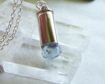 Blue Celestite Gemstone Crystal Bullet Jewelry Pendant