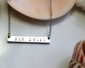 Personalized Bar Necklace - Bible Verse Necklace - Scripture Necklace - Personalized Necklace - Bridesmaid Gift - Rose Silver Gold Necklace