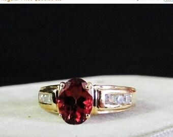 On Sale Vintage Estate 14K Mid Century Orange Red Topaz .90 ct Ring