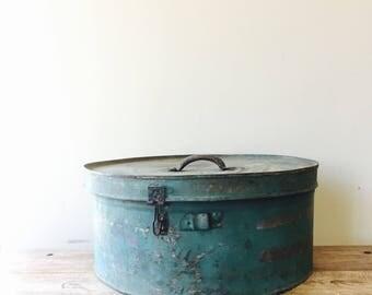 Vintage Turquise Metal Industrial Round Box, Hat Box, Storage Box