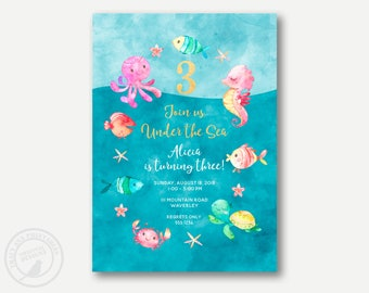 Under the Sea Birthday Invitation | Sea creatures Birthday Decor | 1st, 2nd 3rd Birthday Party | Fish and Friends Birthday | Printable  1045