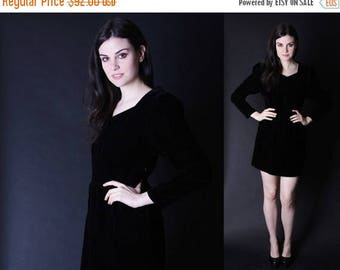 FLASH SALE - Black Velvet Dress - Vintage Velvet Dress - 90s Soft Grunge - 90s Little Black Dress -2842