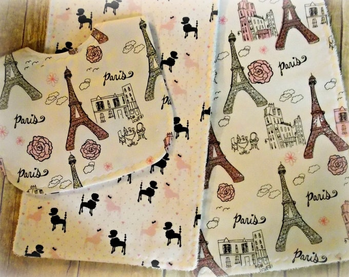 Eiffel tower baby - handmade bib and burp set - pink glitter - baby girl shower gift - poodle bib - Paris burp cloth - Paris - eiffel tower