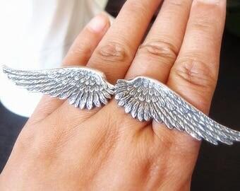 Vintage aged brass black angel wing adjustable ring