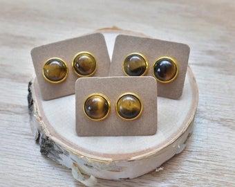 20% EARRING STUD SALE Gold Round Tigers Eye Bezel 12mm Stud Earrings/ Tigers Eye Large Round Cabochon Gold Studs/ Natural Stone Gemstone Min