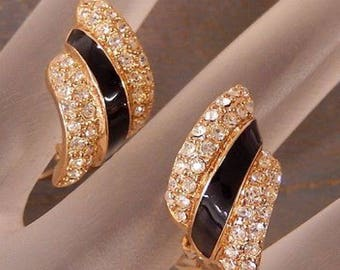 Vintage Christian Dior Black Enamel And Pave Crystal Clip On Earrings In Gold- Rare 80's Design
