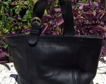 Vintage COACH Waverly Black Leather Tote Bag - 4133