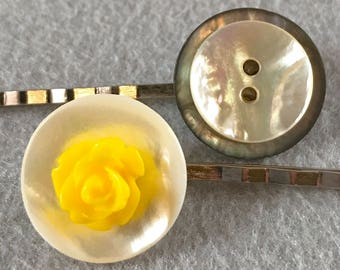 Yellow bobby pin, shell buttons, cabochon, flower,