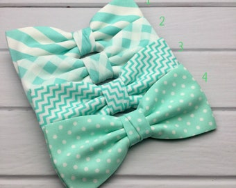 Mint Mens Bow tie, Chevron Bow Tie, Polka Dot Bow Tie, Plaid Bow Tie, Stripy Bow Tie, Wedding Bow Tie, Groom & Groomsmen Bow Tie, Kid Bowtie