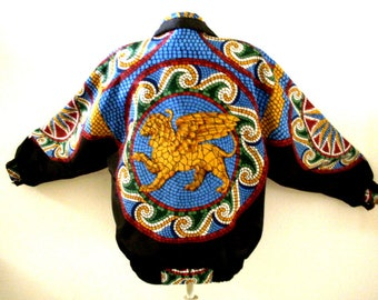 Vintage 80s Satin Bomber Jacket with Griffin Gryphon - Black and Blue 1980s Winged Lion Bomber Jacket by Giacca - Designer - Size Medium