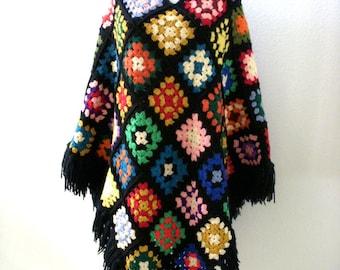 Vintage 60s 70s Black and Multi Poncho - Granny Square Poncho w Fringe - Hippie Boho Black and Rainbow Poncho - Fringed Knit Poncho - Small