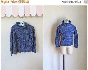 20% off SALE vintage child's sweater - SPACE BLUE space dye turtlenecks / 5T-6yr