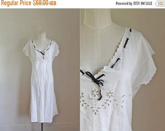 20% off SALE edwardian 1910s nightgown / MIDNIGHT JASMINE white eyelet dress / L