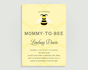 Bee Baby Shower Invitation - Mommy to Bee - Personalized Printable File or Print Package Available 00251-PIA7XP