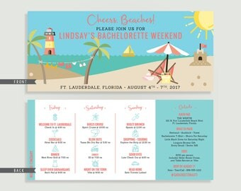 Beach Bachelorette Invitation with Itinerary - Personalized Printable File or Print Package -  #00149-PI10