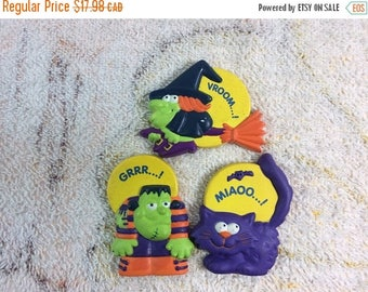 20% SALE Vintage Avon Happy Hauntings Halloween Fridge Magnets Black Cat Witch Frankenstein Lot of 3 Pieces