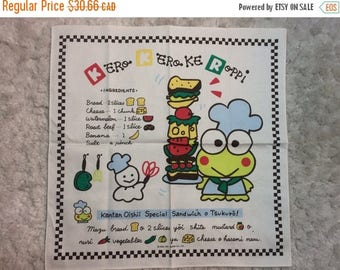 SUMMER SALE 1991 Sanrio Kero Kero Keroppi Tea Towel Sandwich Recipe Kawaii Linen