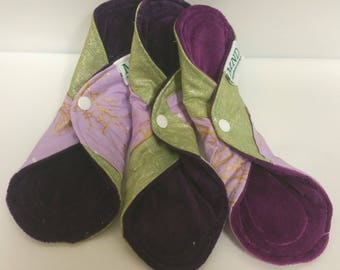 """3 10"""" Bamboo Velour All-in-one (AIO) Cloth Mama Menstrual Pads"""