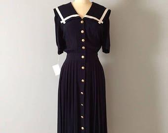 25% OFF SALE... SAILOR collar dress // 1940s inspired button down maxi dress // midnight blue nautical dress
