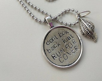 Don't look back just run for cover - The Killers / Brandon Flowers - Handstamped Alluminium Necklace with a shell