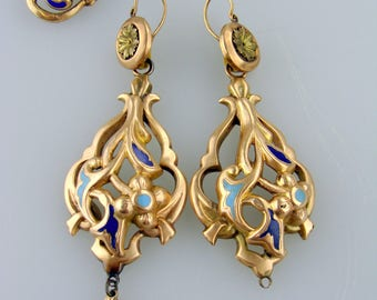 RARE 1800s Night and Day Italian 12K Gold Enamel Drop Earrings & Matching Stick Pin