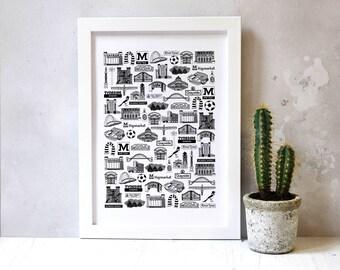 Newcastle Print - Newcastle Art - Newcastle Gift -  Newcastle Wedding Gift - Gift for Couples